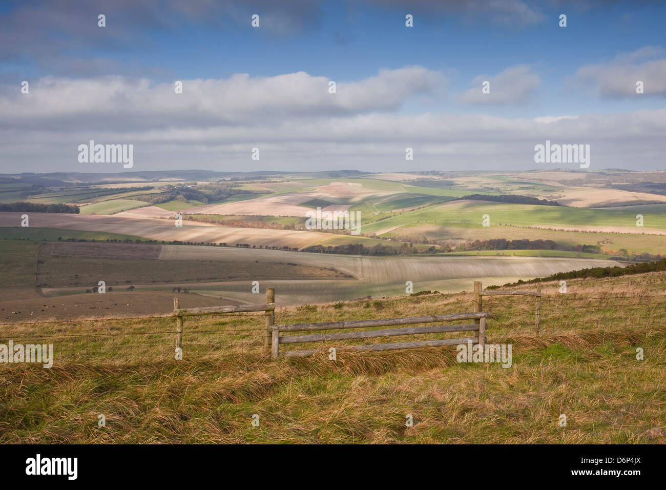 The rolling hills of the South Downs National Park near Brighton, Sussex, England, United Kingdom, Europe - Stock Image