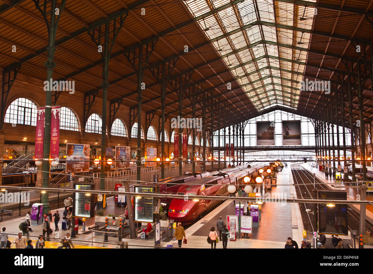 A busy Gare du Nord station in Paris, France, Europe - Stock Image