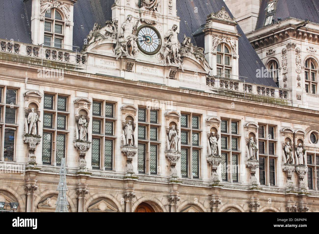 The Hotel de Ville (town hall) in central Paris, France, Europe - Stock Image