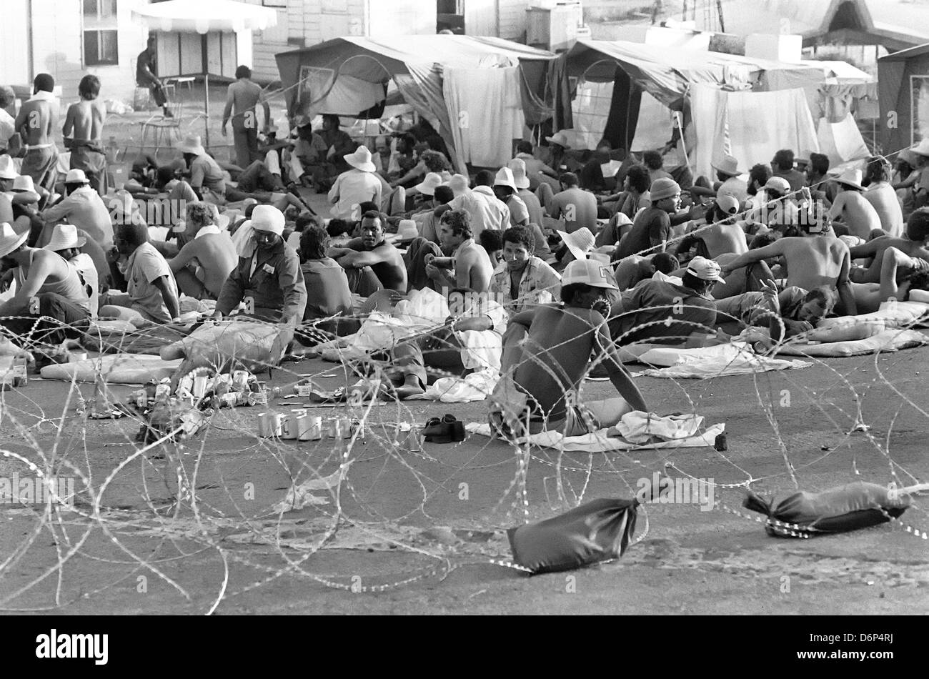 Captured Cuba nationals in a detention camp during the Invasion of Grenada, codenamed Operation Urgent Fury October - Stock Image