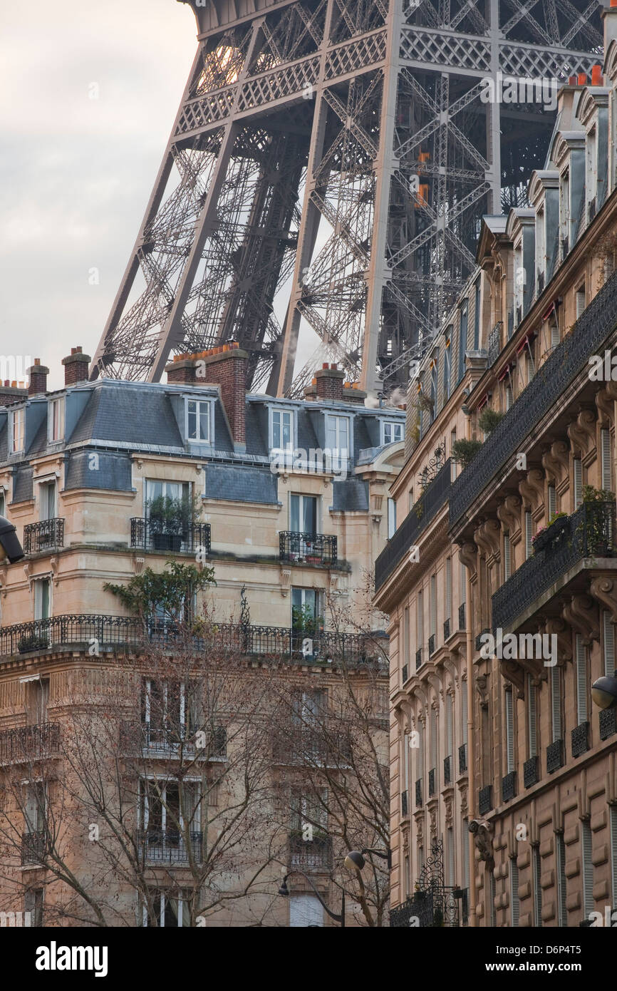 The Eiffel Tower and typical Parisian apartments, Paris, France, Europe - Stock Image