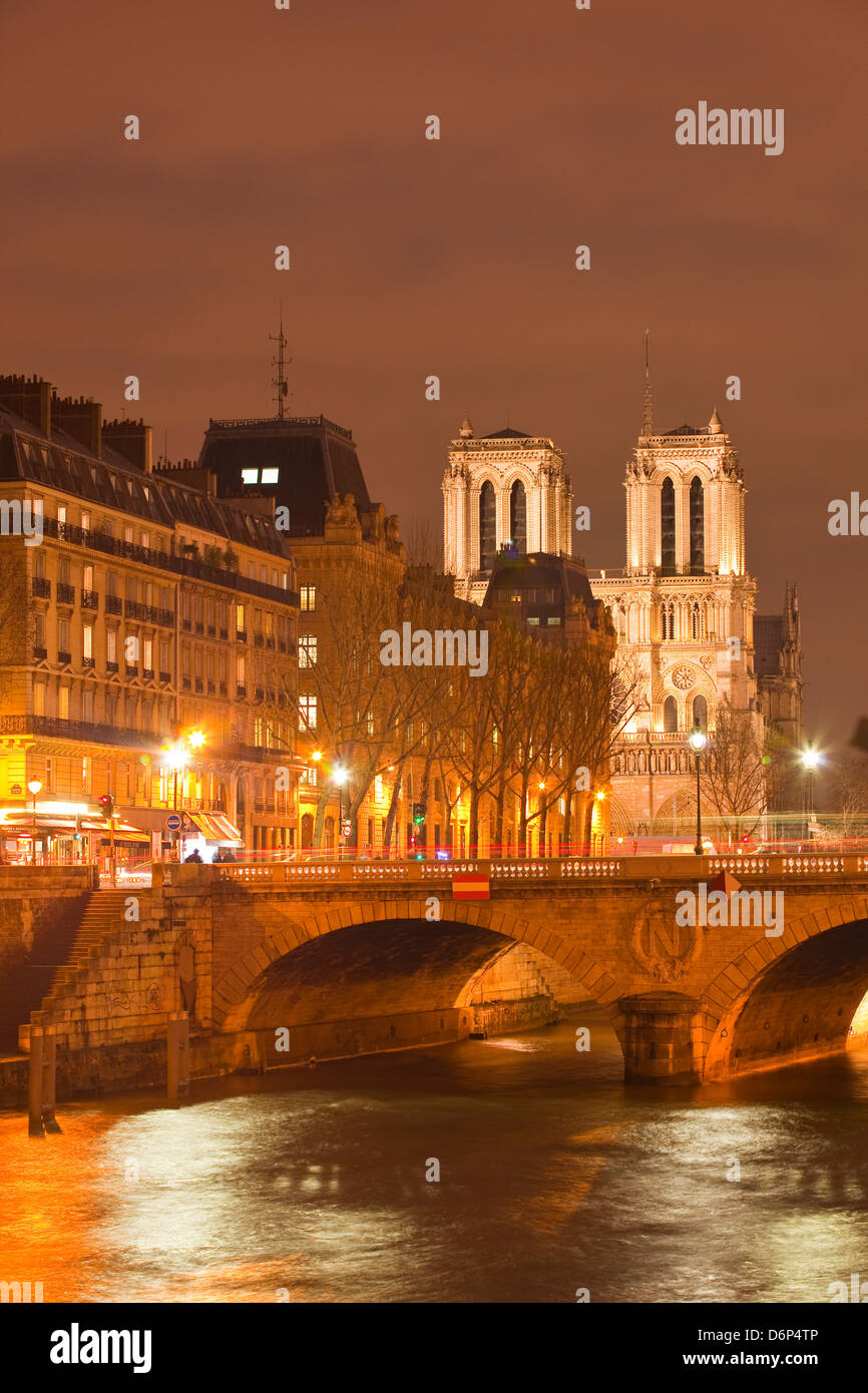 The Ile de la Cite and Notre Dame cathedral at night, Paris, France, Europe - Stock Image