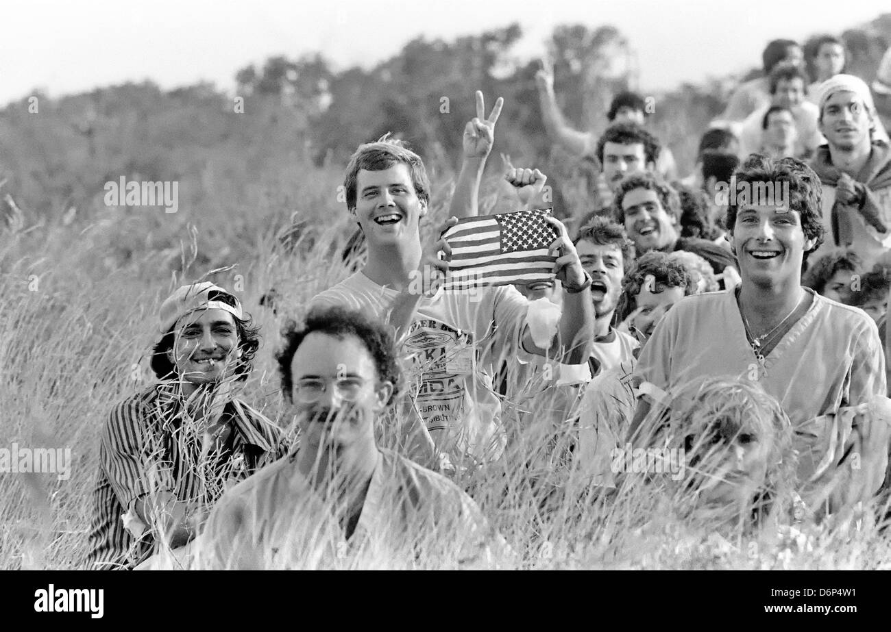 US medical students from the St. Georges Medical University celebrate their liberation following the Invasion of - Stock Image
