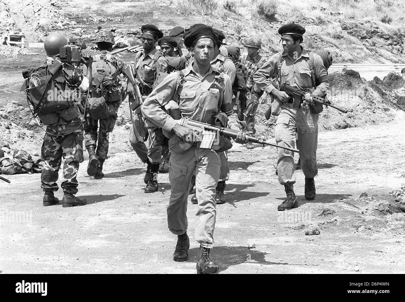 Members of the Eastern Caribbean Defense Force armed with a Belgian made 7.62 mm FN FAL rifles during the Invasion - Stock Image