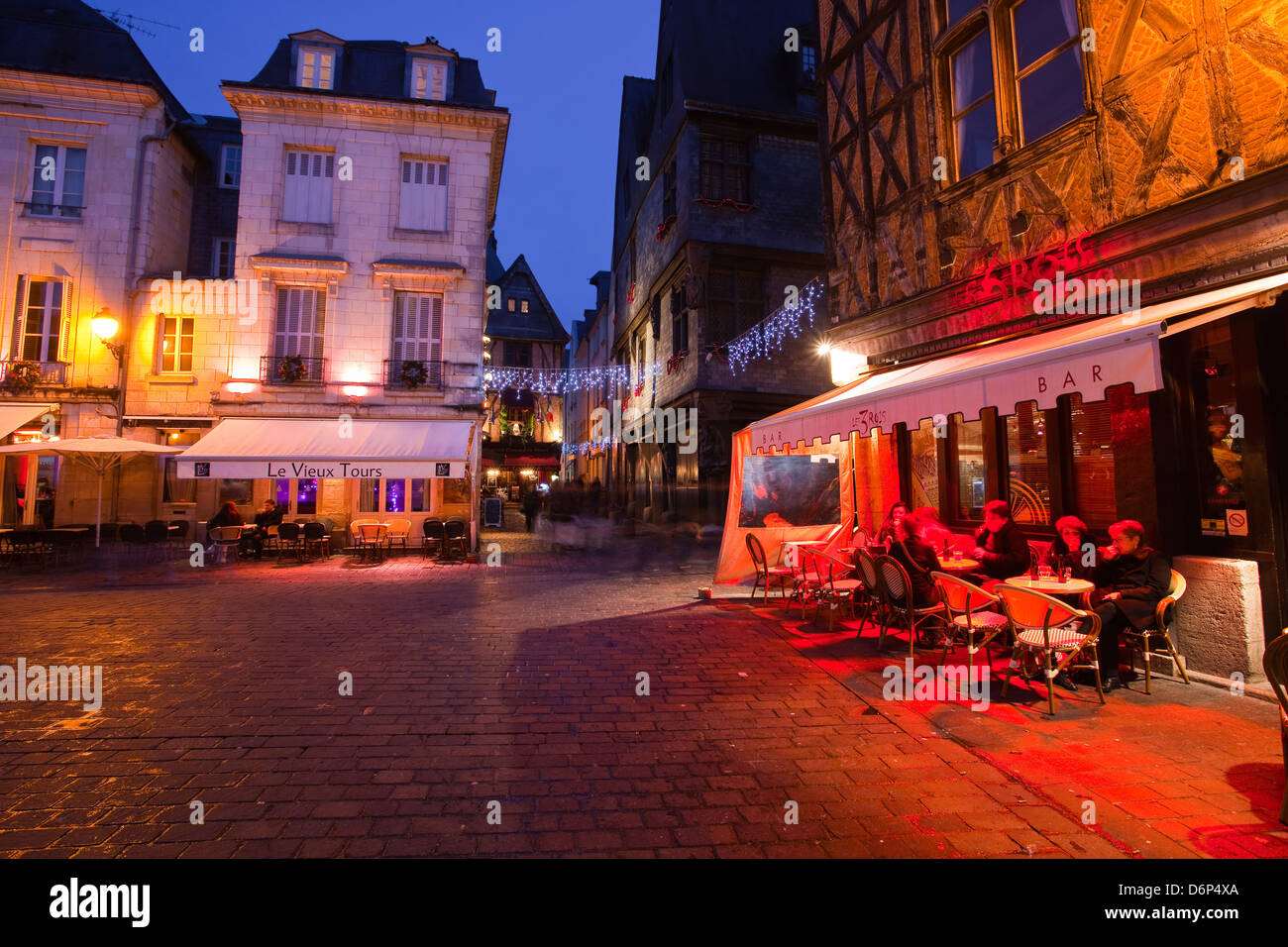 Place Plumereau in Vieux Tours on a late December evening, Tours, Indre-et-Loire, France, Europe - Stock Image