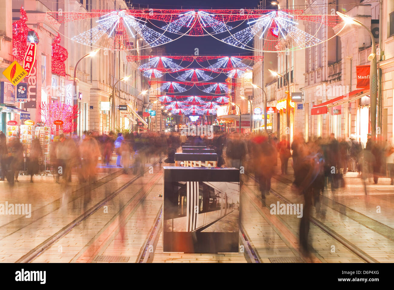 Rue Nationale in the city of Tours full of Christmas shoppers, Tours, Indre-et-Loire, France, Europe - Stock Image