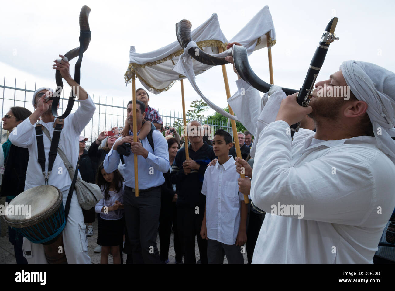 Bar Mitsva celebration. Western Wall. Jerusalem Old City. Israel. - Stock Image