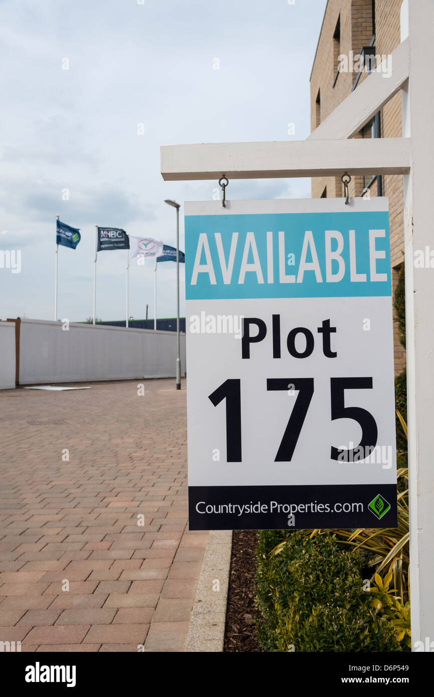 Available signs on building plots at new housing development at Great Kneighton Trumpington Cambridge UK - Stock Image