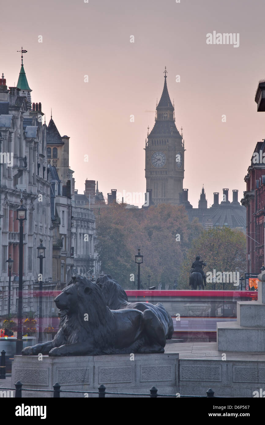 Trafalgar Square and Big Ben at dawn, London, England, United Kingdom, Europe Stock Photo