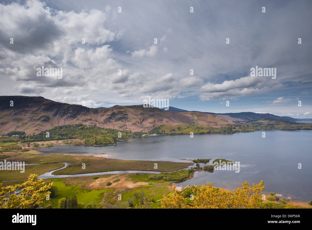 Derwent Water and the surrounding fells in the Lake District National Park, Cumbria, England, United Kingdom, Europe - Stock Image