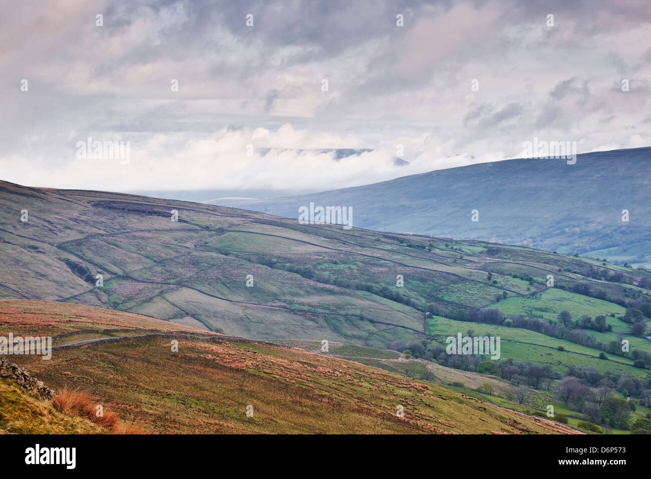 The rolling hills of the Yorkshire Dales National Park near Dentdale, Yorkshire, England, United Kingdom, Europe - Stock Image