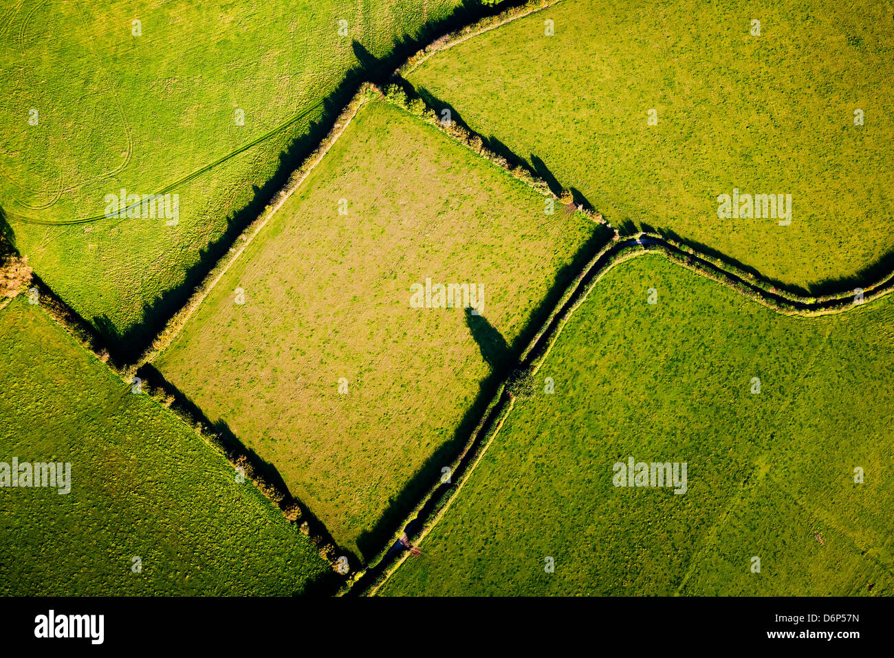 Aerial view showing geometric lines and shapes made by field boundaries in British countryside. - Stock Image