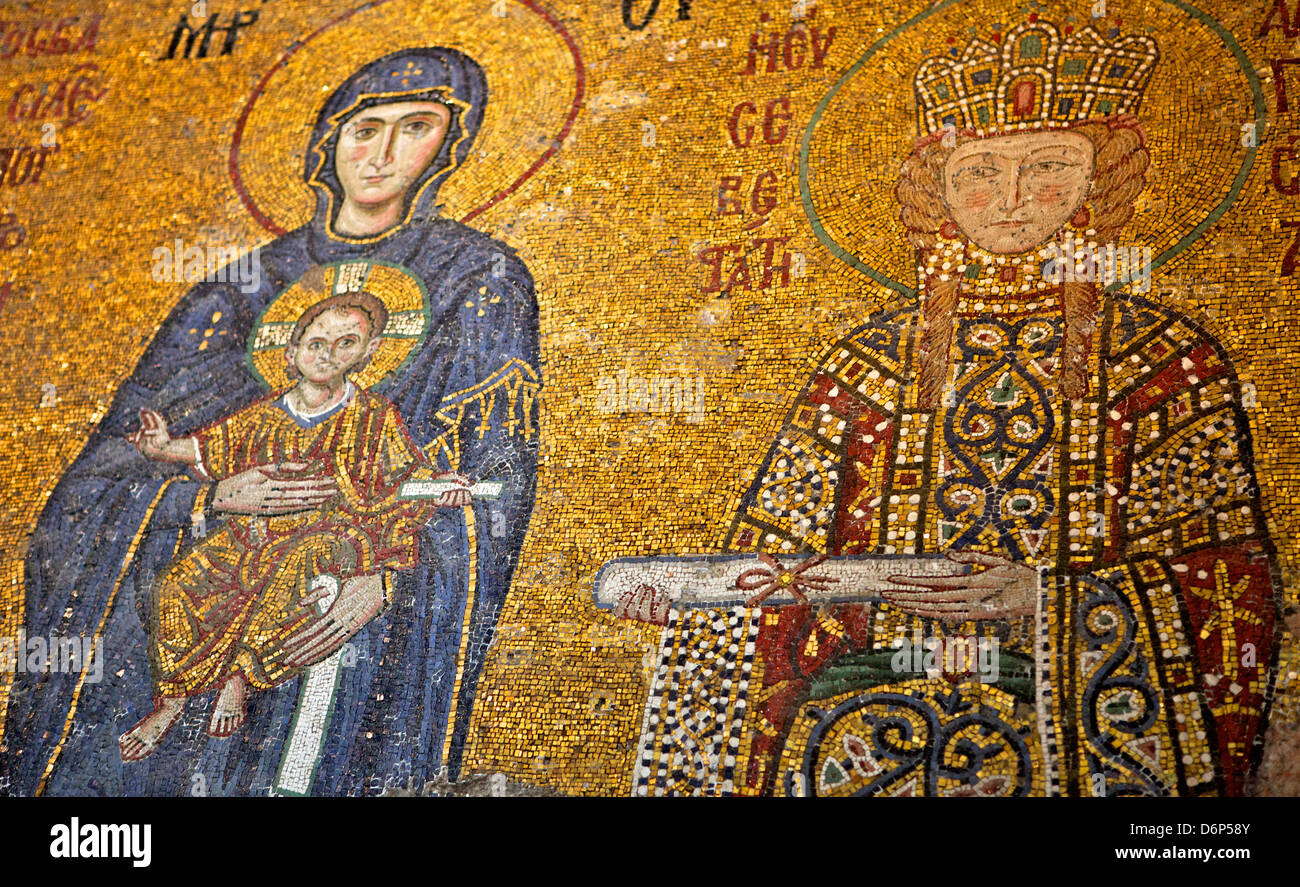 Mosaic of Virgin Mary and Infant Jesus Christ in the Hagia Sophia Museum, UNESCO World Heritage Site, Istanbul, - Stock Image