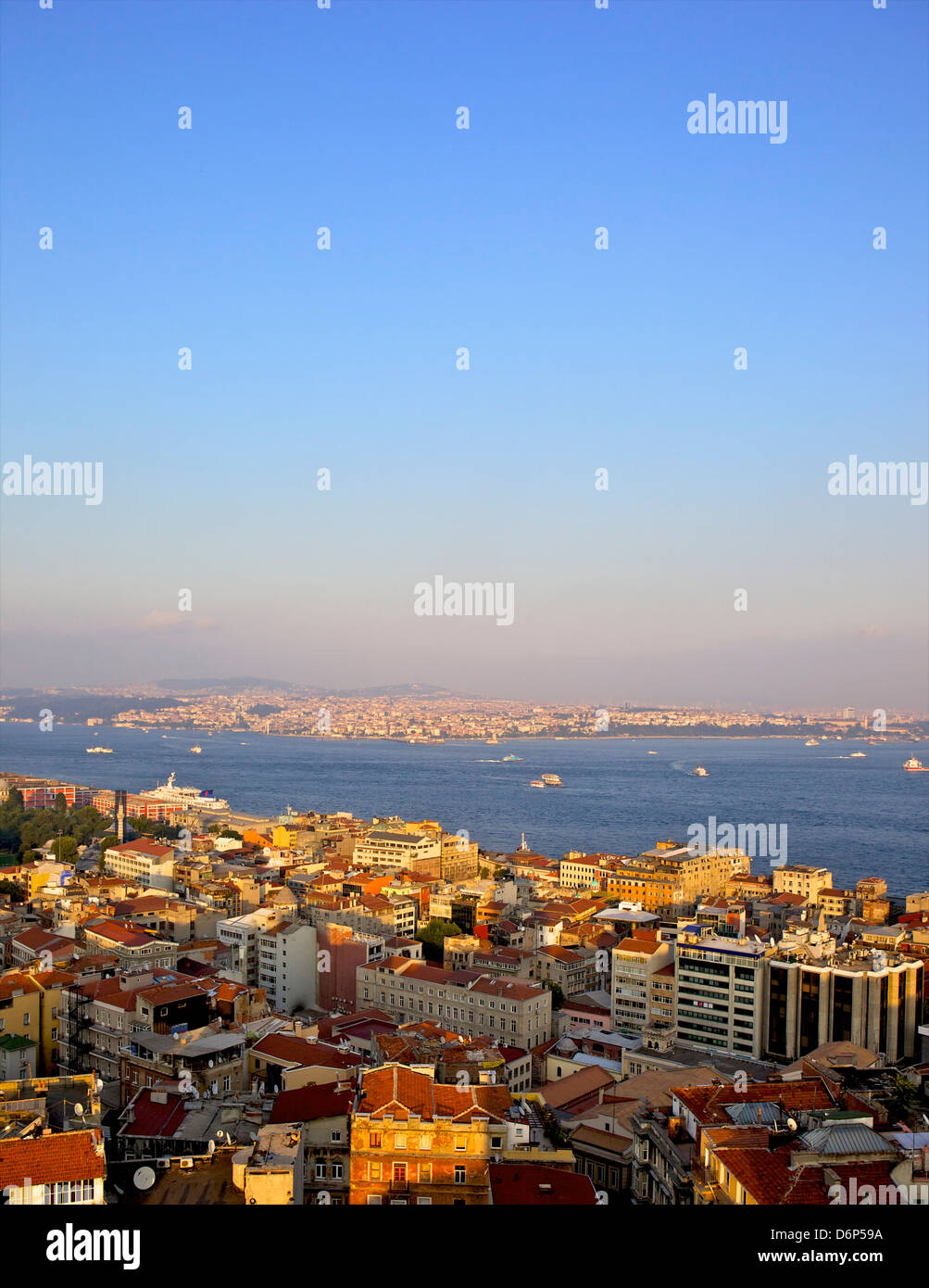 Panoramic view of Istanbul from Galata tower, Istanbul, Turkey, Europe, Eurasia - Stock Image