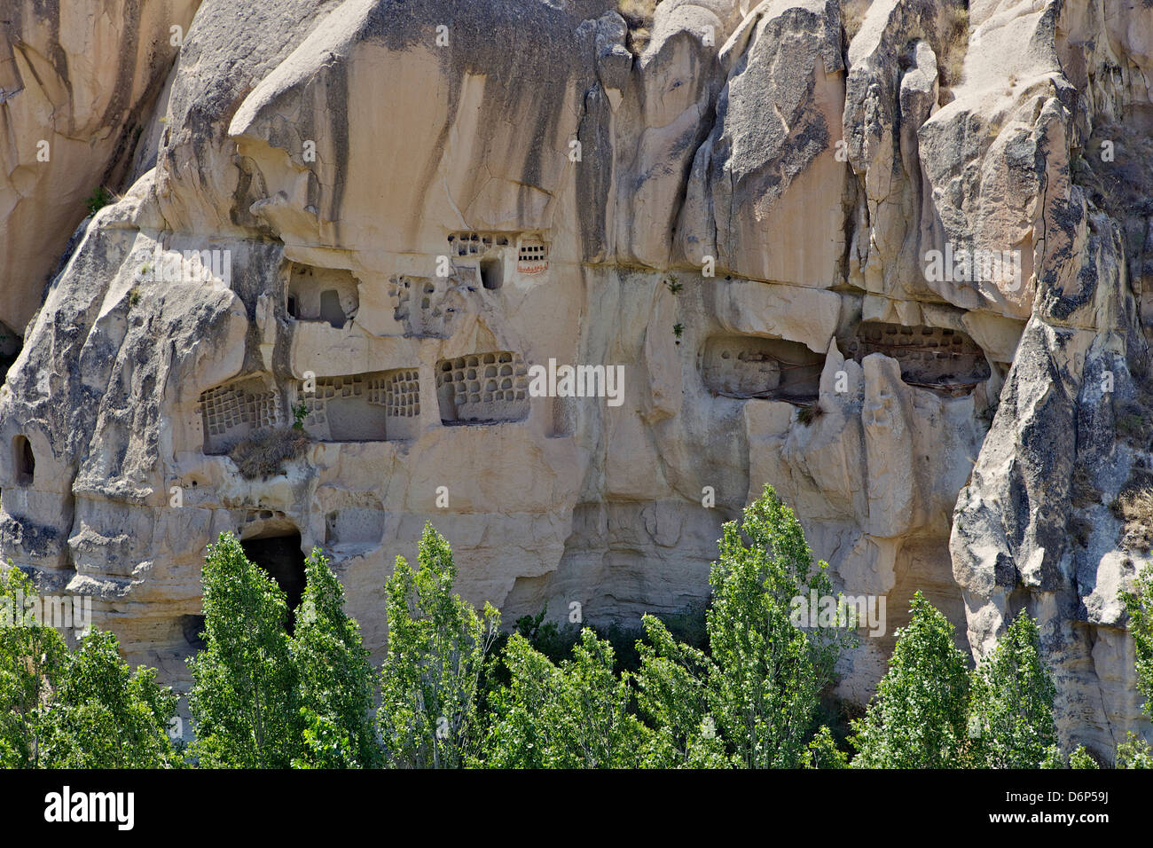 Rock houses, houses carved into the rocks, Goreme, Cappadocia, Anatolia, Turkey, Asia Minor, Eurasia Stock Photo