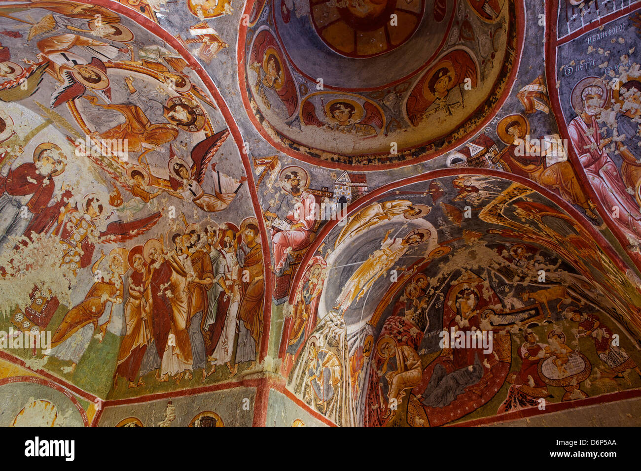 View of ceiling with fresco painting in a cave church, Goreme open air museum, Cappadocia, Anatolia, Turkey, Asia - Stock Image