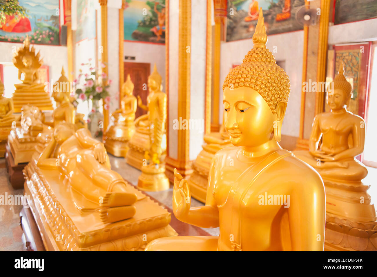 Statues, Karon Beach, Buddhist Temple, Phuket Island, Phuket, Thailand, Southeast Asia, Asia Stock Photo