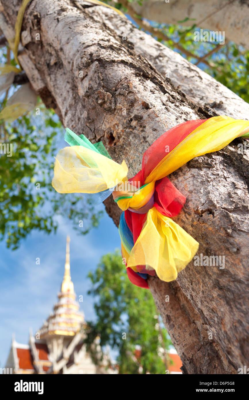 Prayer ribbon, Karon Beach, Buddhist Temple, Phuket Island, Phuket, Thailand, Southeast Asia, Asia - Stock Image