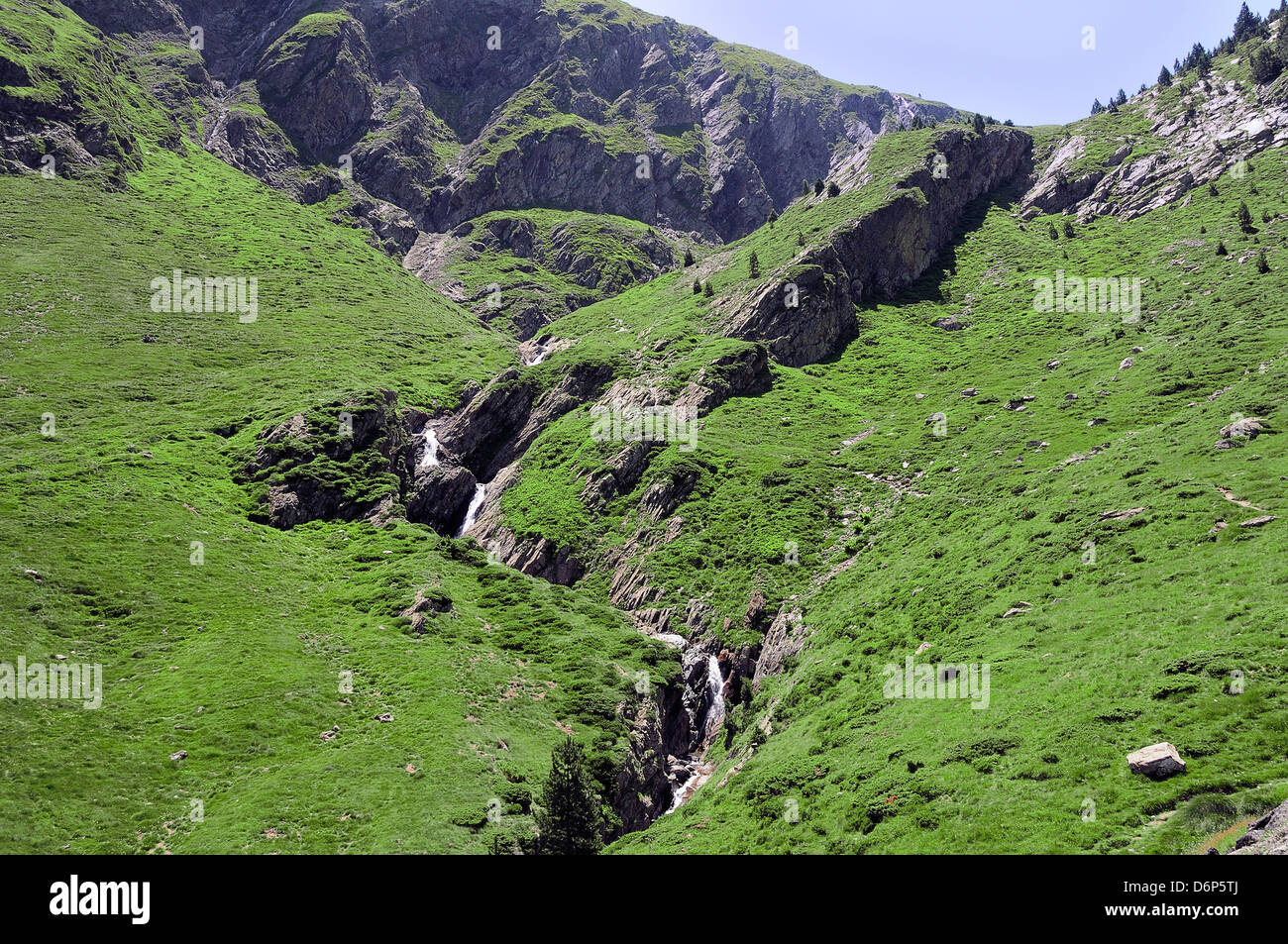 Source of River Neste de Saux at 2400m on the French border with Spain, Hautes-Pyrenees, France, Europe Stock Photo