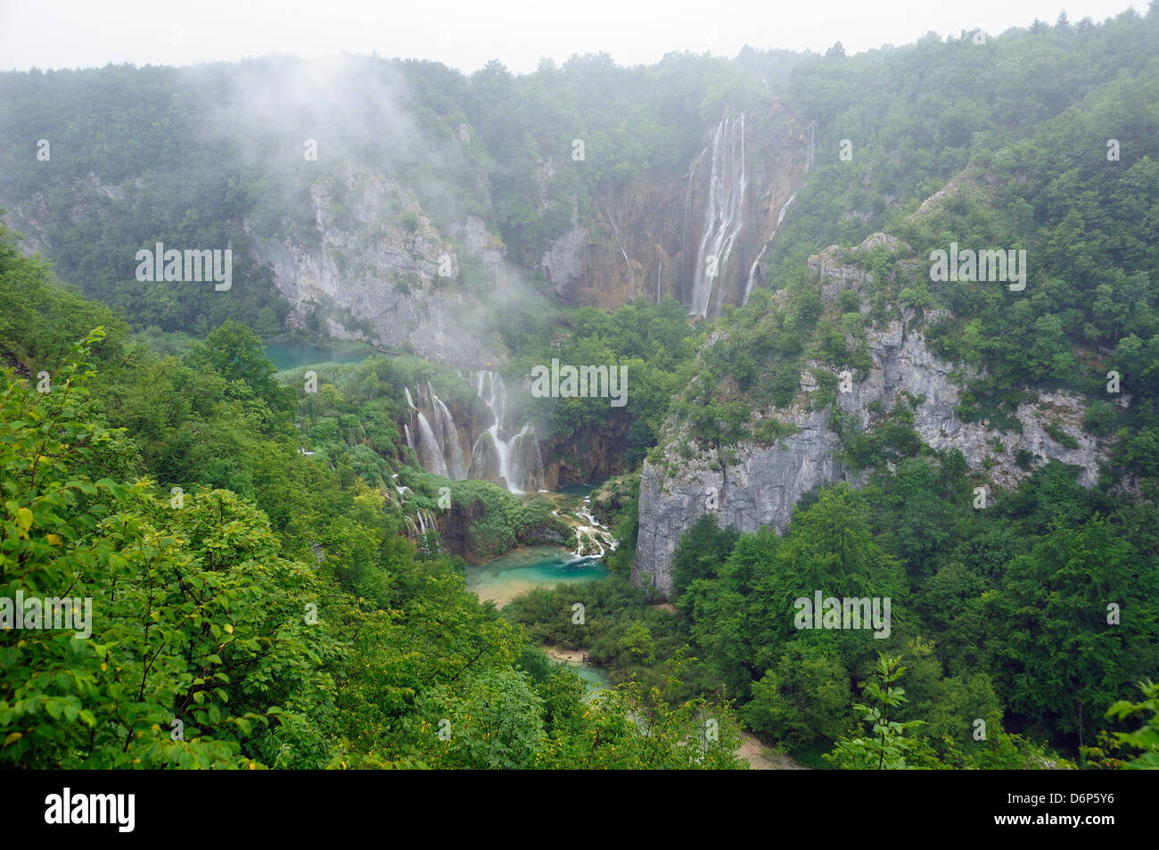 Overview of the great waterfall (Veliki Slap) and Sastavci waterfalls, Plitvice Lakes National Park, UNESCO Site, - Stock Image