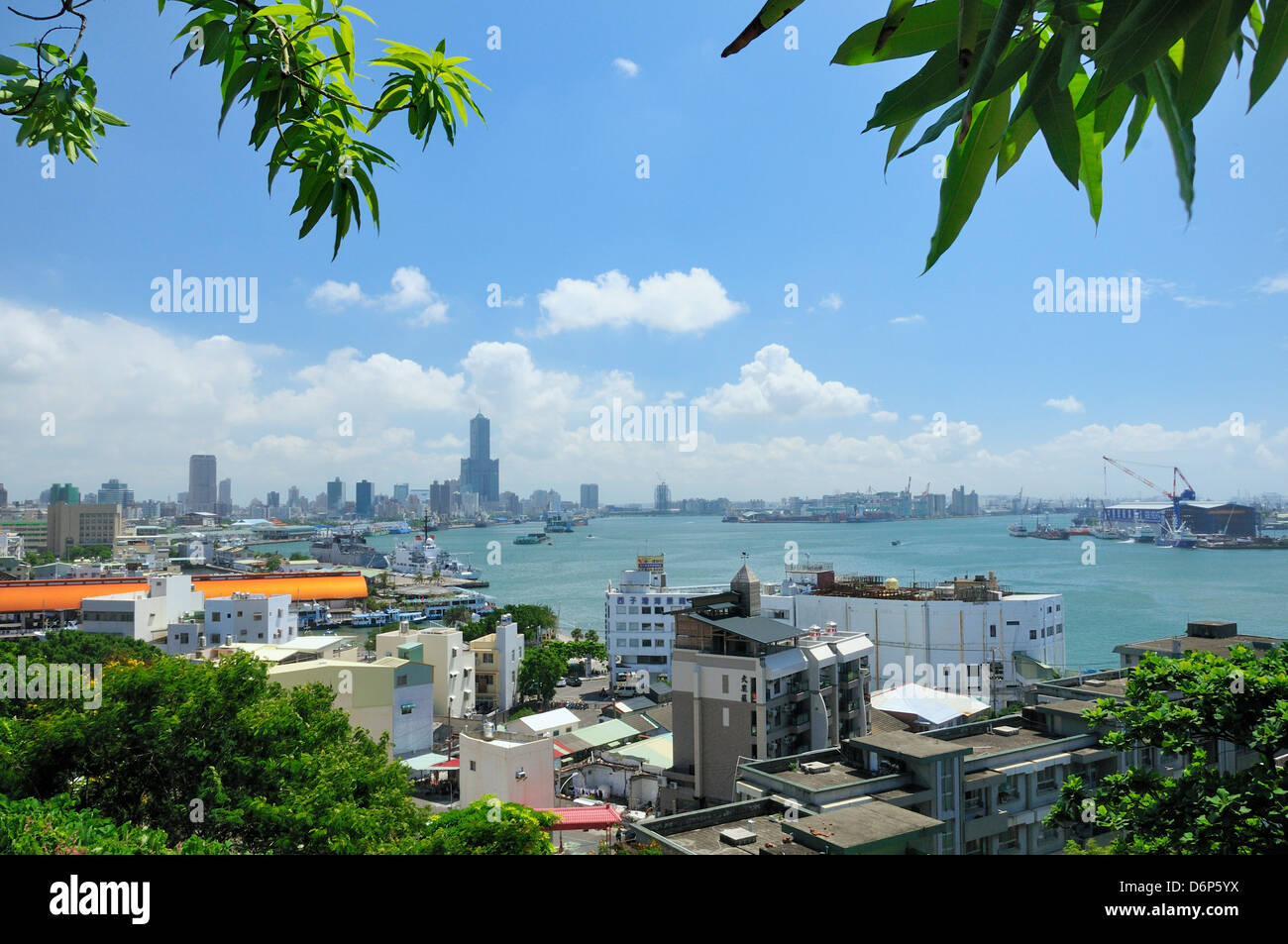 Overview of Kaohsiung harbour and the Love River urban canal, Kaohsiung City, Taiwan, Asia - Stock Image