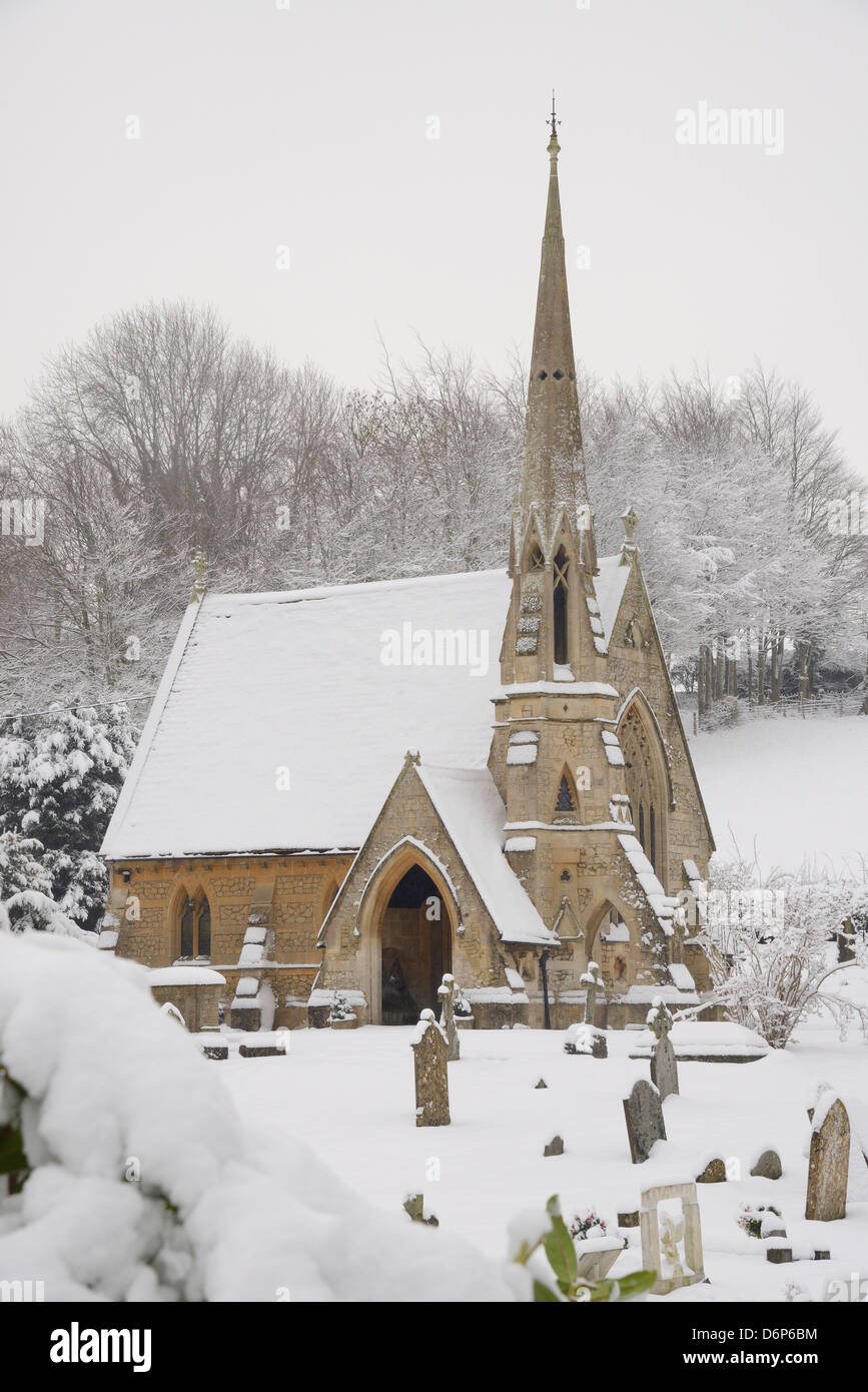 Box cemetery chapel after heavy snow, Box, Wiltshire, England, United Kingdom, Europe - Stock Image
