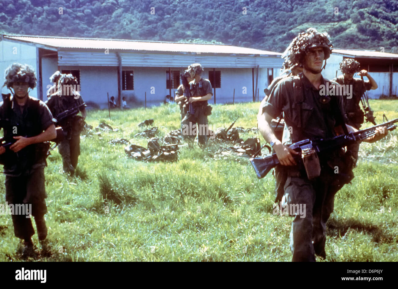 US 82nd Airborne Division soldiers during the Invasion of Grenada, codenamed Operation Urgent Fury October 25, 1983 - Stock Image