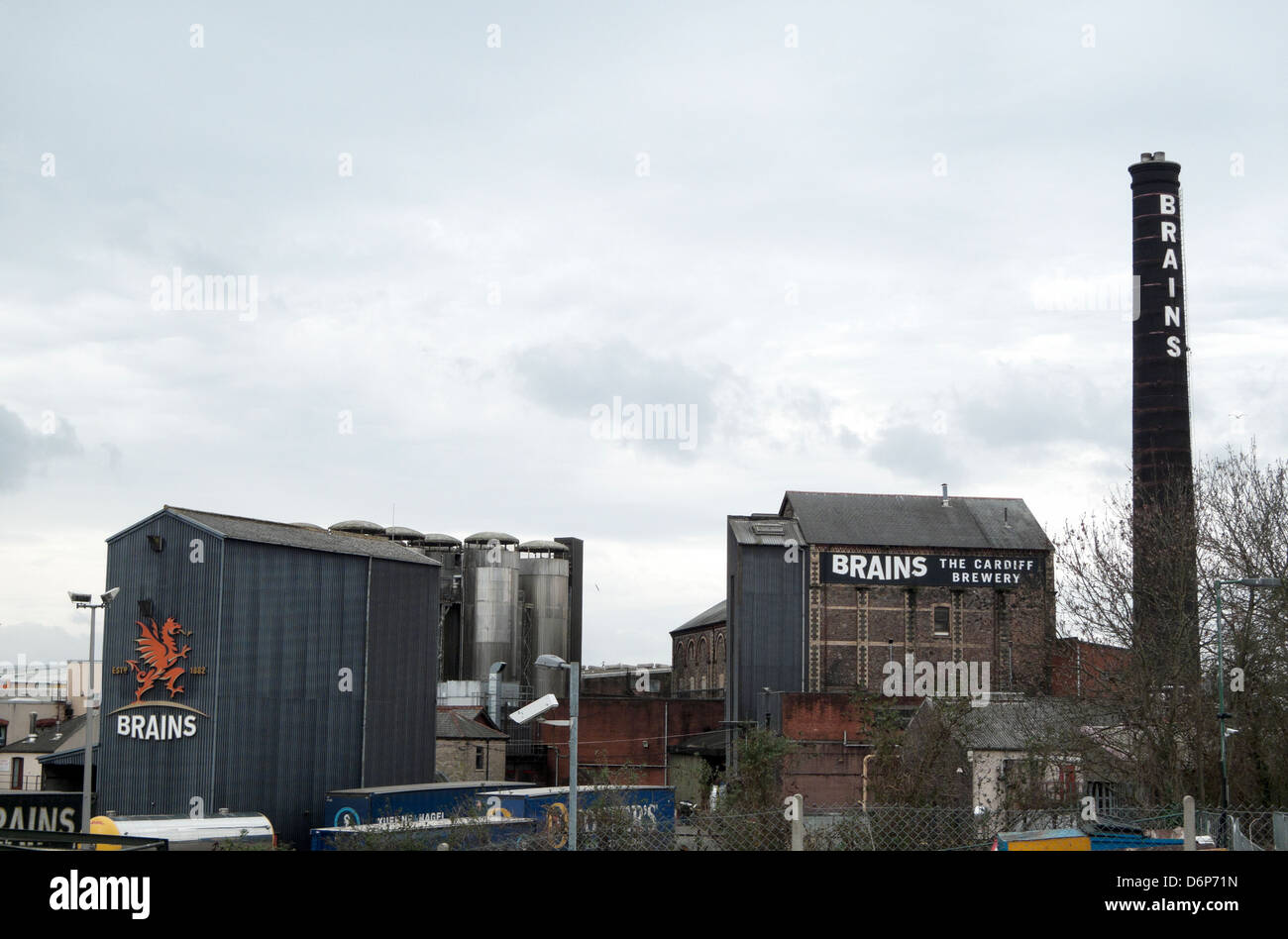 A view of Brains Brewery buildings Cardiff City, Wales, UK - Stock Image