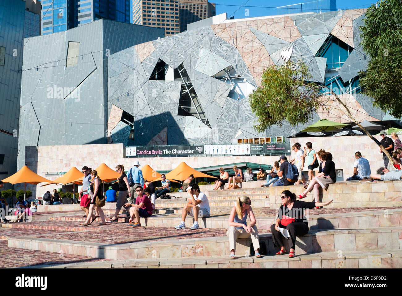 View of plaza at Federation Square in central Melbourne Australia - Stock Image