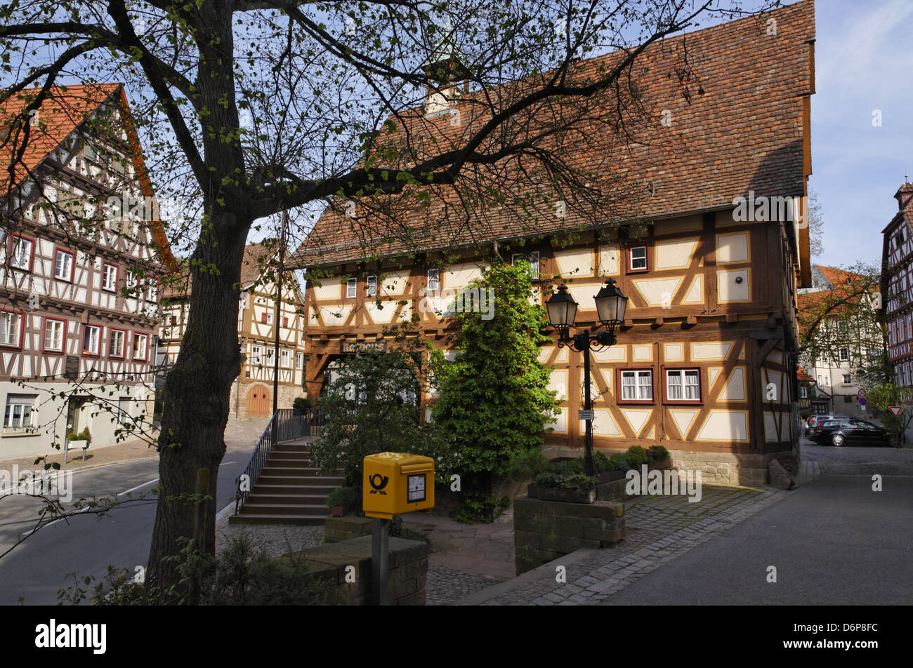germany baden wuerttemberg str mpfelbach city hall half timbered stock photo 55808688 alamy. Black Bedroom Furniture Sets. Home Design Ideas