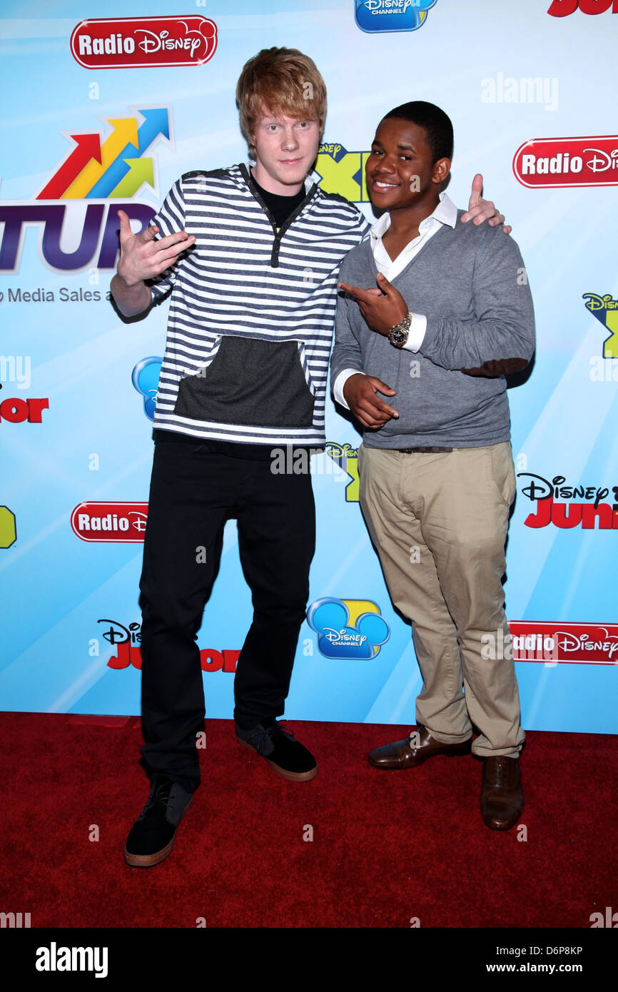 Adam Hicks and Doc Shaw 2012-13 Disney Channel Worldwide Kids Upfront at the Hard Rock Cafe in Times Square New - Stock Image