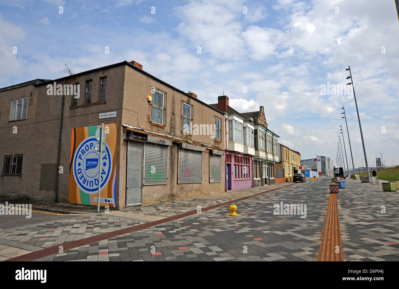 Derelict empty closed buildings ready for redevelopment Middlesbrough Cleveland Teeside UK - Stock Image