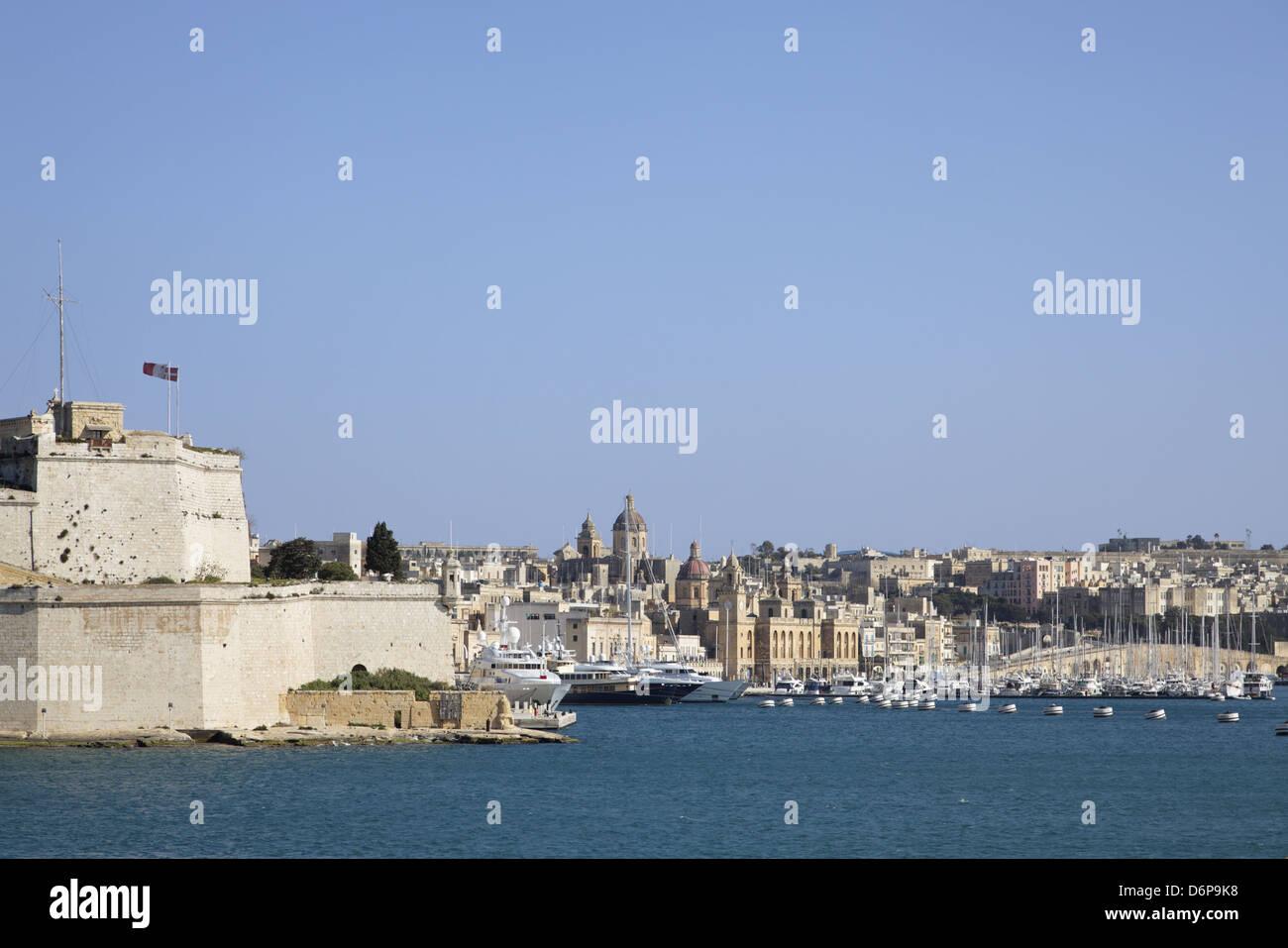Malta, Valletta, UNESCO, view on the Grand Harbour peaceful, harmonious, Malta, Valletta, UNESCO Welterbe, Blick - Stock Image