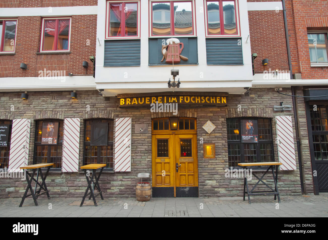 Brauerei im Fuchschen beer hall restaurant exterior Altstadt the old town Dusseldorf city North Rhine Westphalia - Stock Image