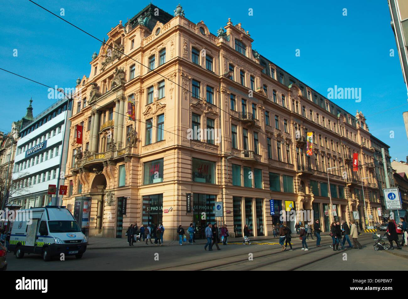 Novobarokní palac (1895) now housing H&M clothing shop Vaclavske namesti the Wenceslas Square Prague Czech - Stock Image