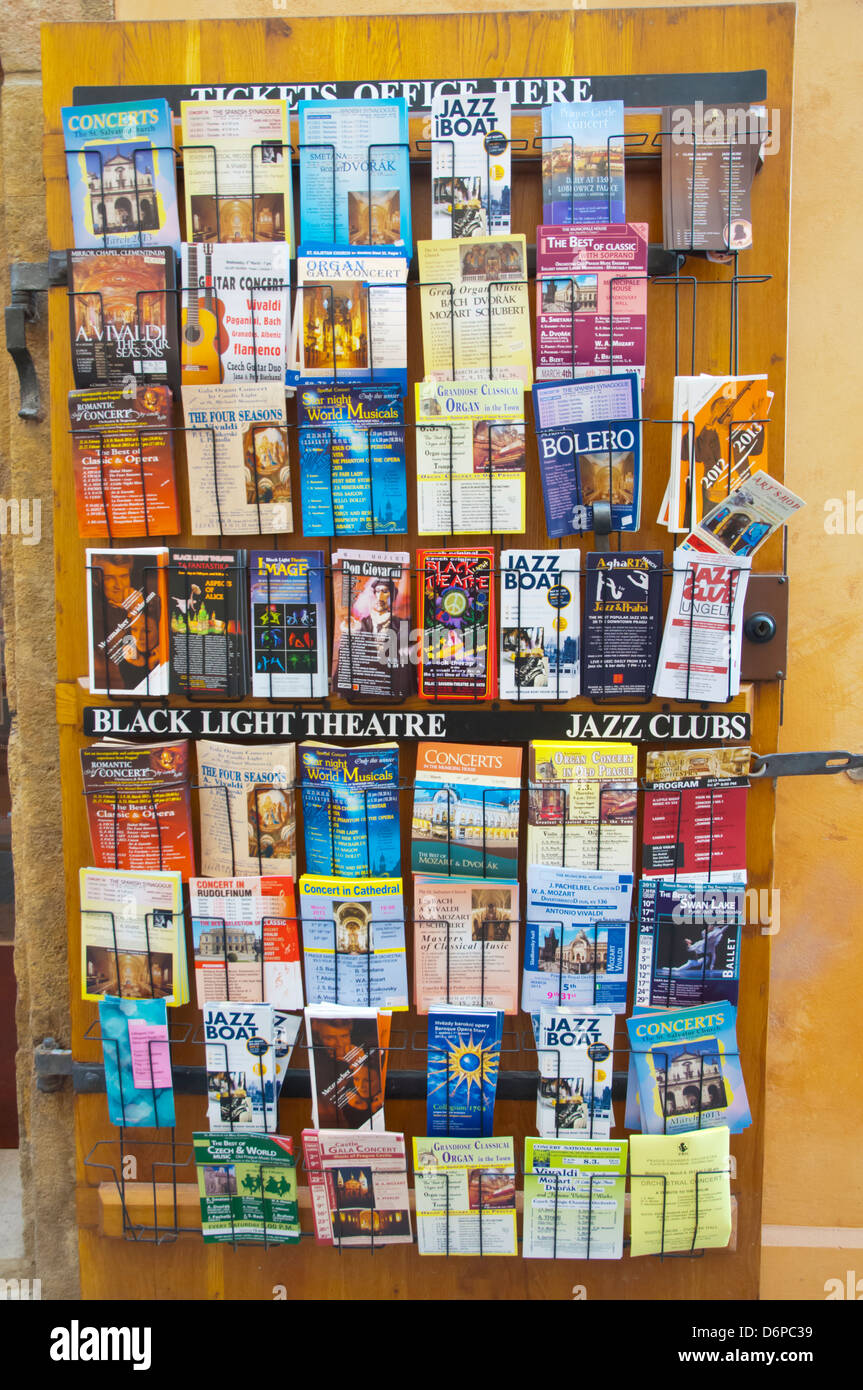 Brochures and flyers advertising concerts museums and other sights and events for tourists old town Prague Czech - Stock Image