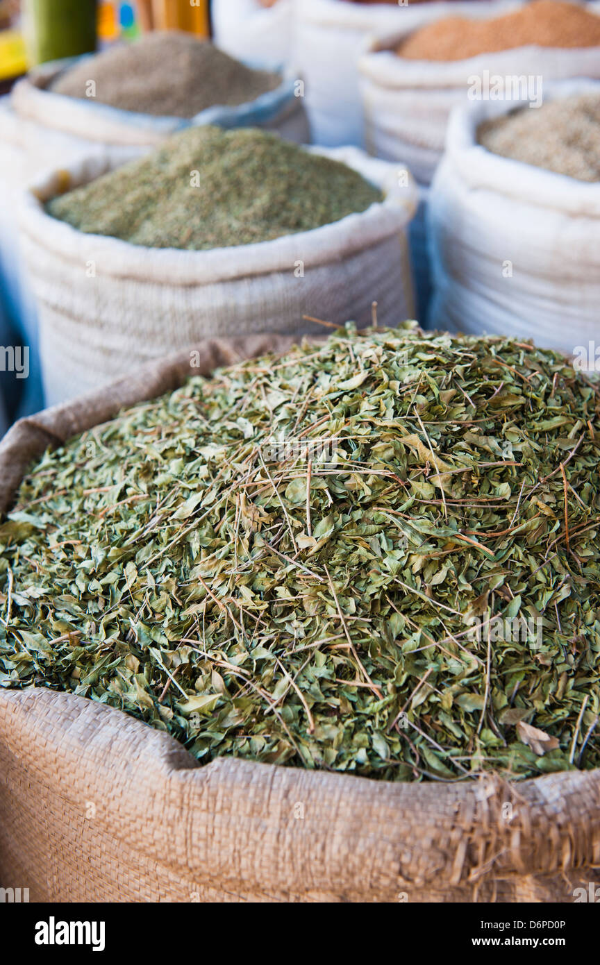 Moroccan tea leaves for sale, Essaouira, formerly Mogador, UNESCO World Heritage Site, Morocco, North Africa, Africa - Stock Image