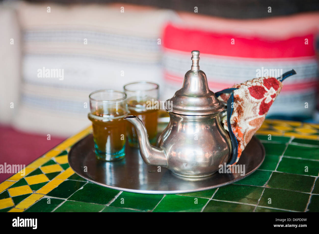 Moroccan mint tea pot at a cafe in Marrakech, Morocco, North Africa, Africa - Stock Image