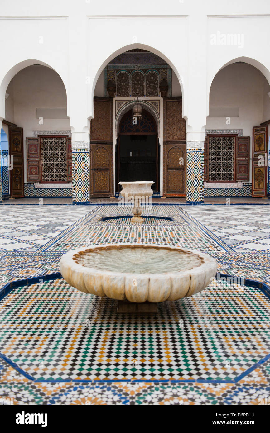Marrakech Museum, fountain in the interior, Old Medina, Marrakech, Morocco, North Africa, Africa - Stock Image