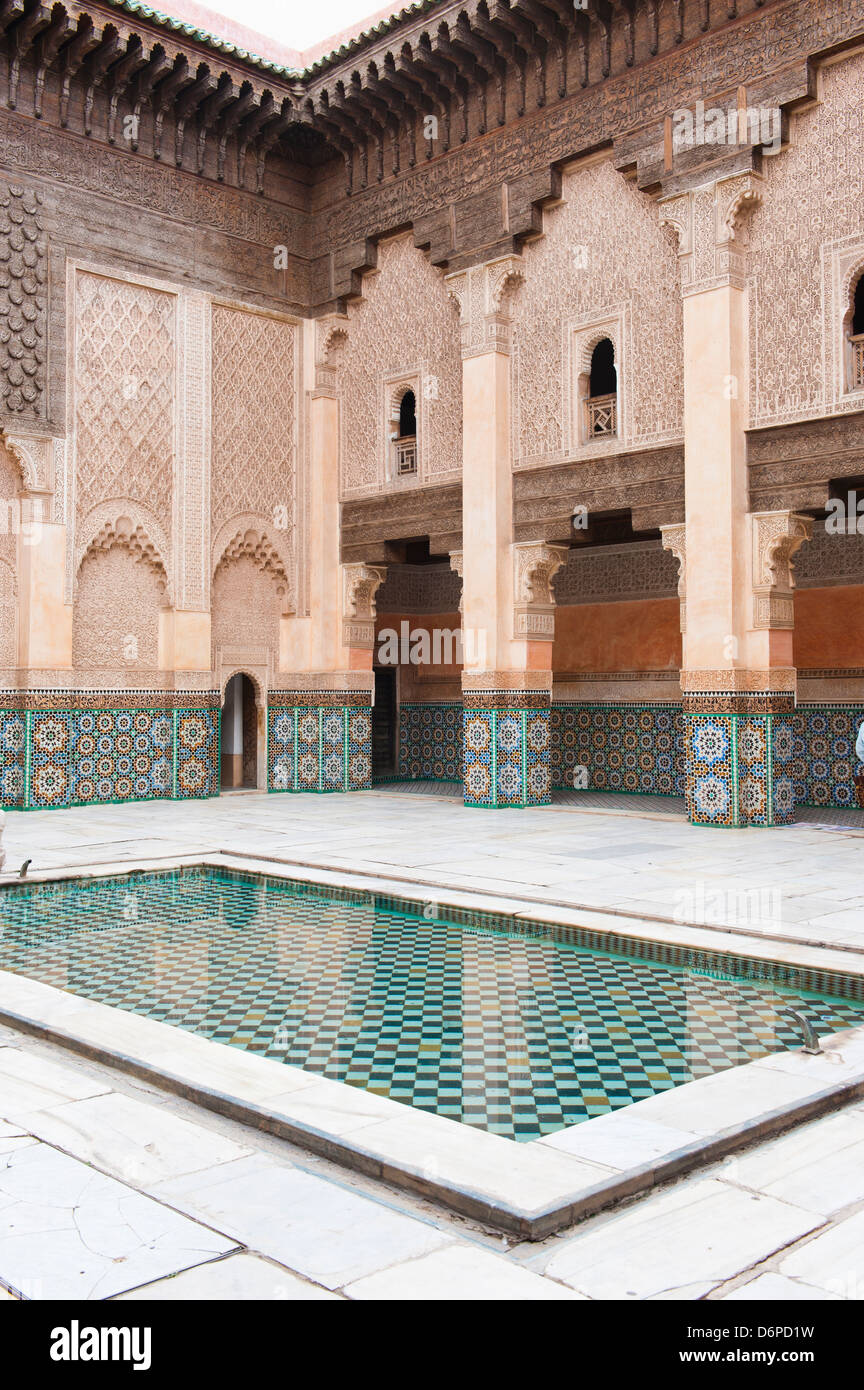 Medersa Ben Youssef central courtyard, the old Islamic school, Old Medina, Marrakech, Morocco, North Africa, Africa - Stock Image