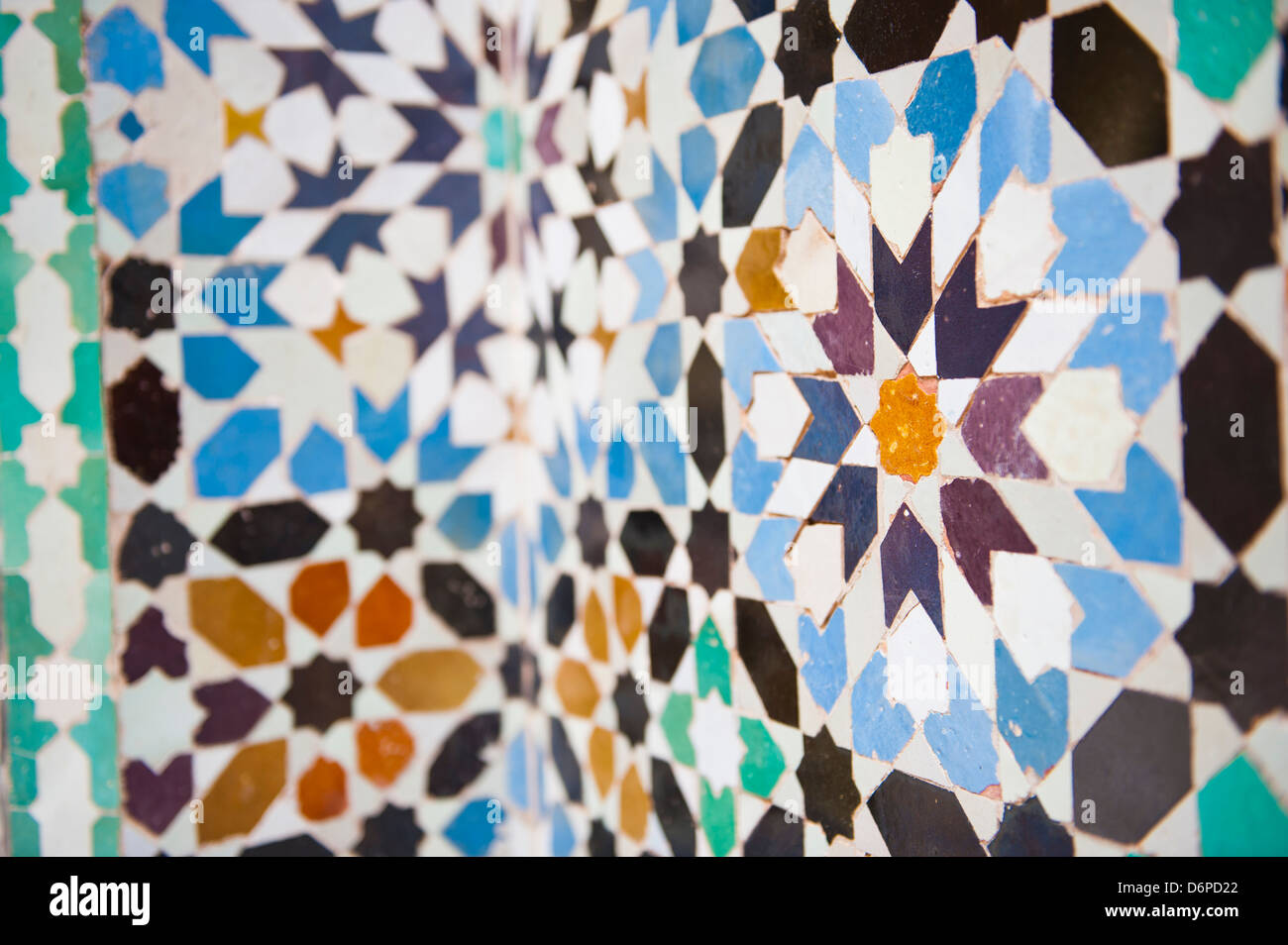 Colourful mosaic at Medersa Ben Youssef, the old Islamic school, Old Medina, Marrakech, Morocco, North Africa, Africa - Stock Image