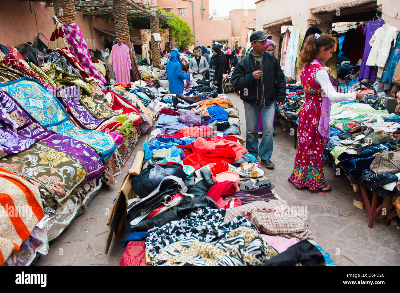 Clothes stalls in the souks of the old Medina of Marrakech, Morocco, North Africa, Africa - Stock Image