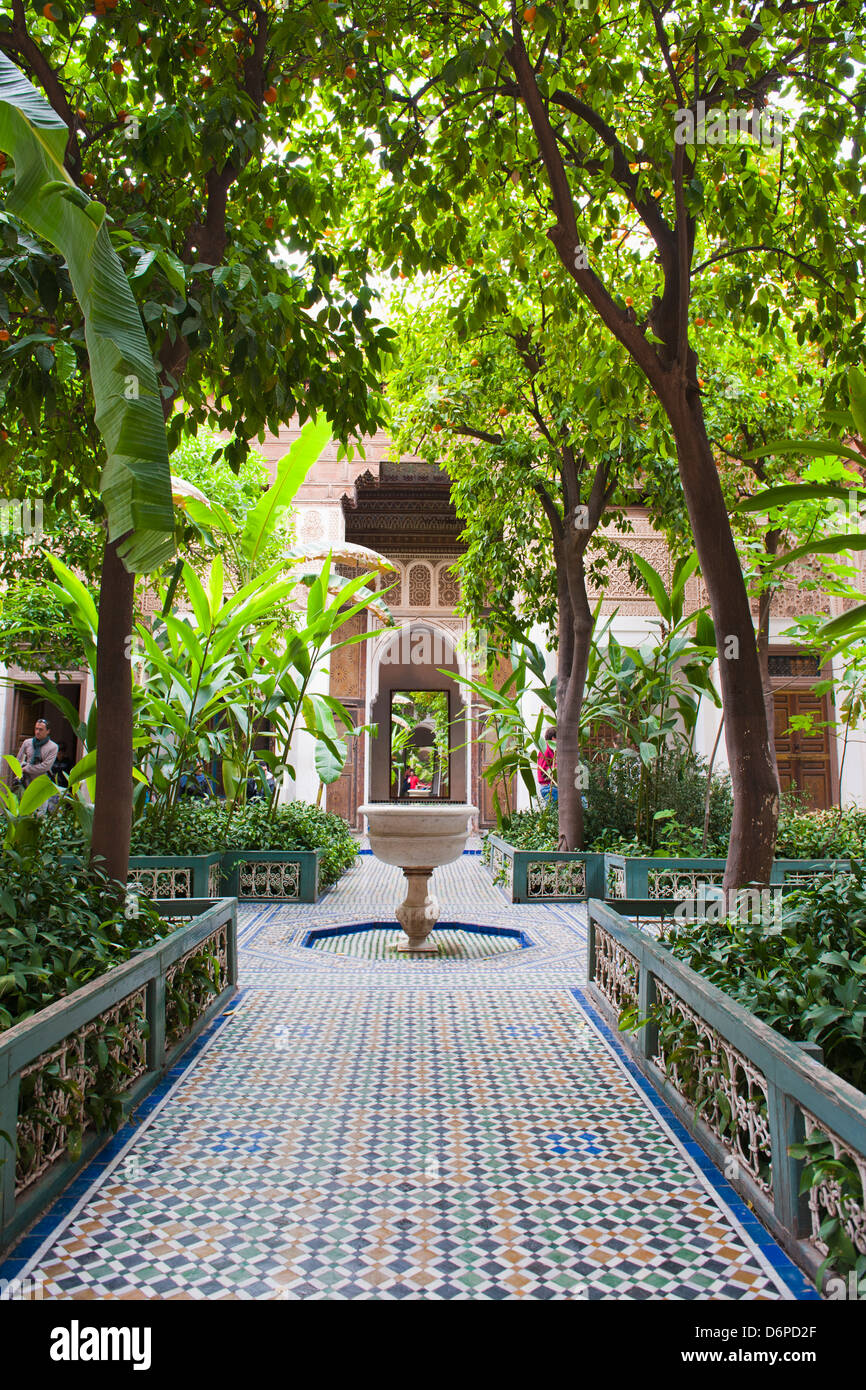 El Bahia Palace courtyard, Marrakech, Morocco, North Africa, Africa - Stock Image