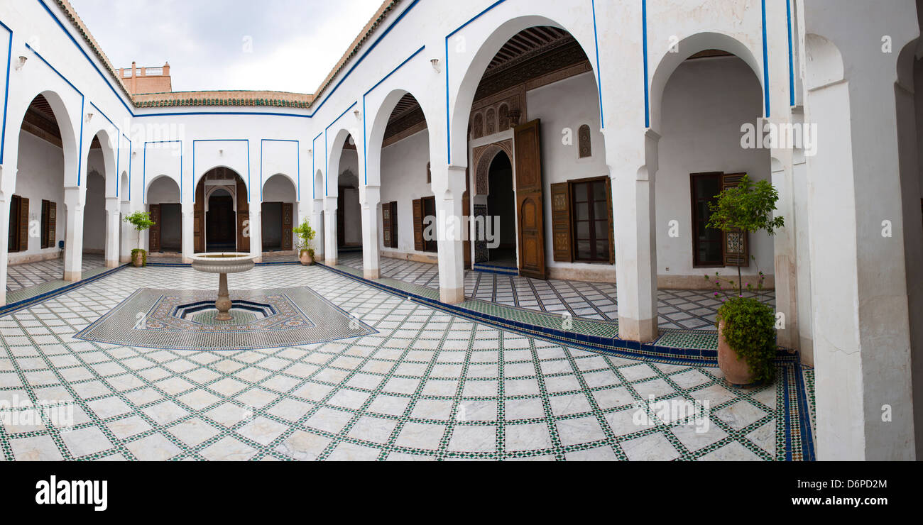 Courtyard at El Bahia Palace, Marrakech, Morocco, North Africa, Africa - Stock Image