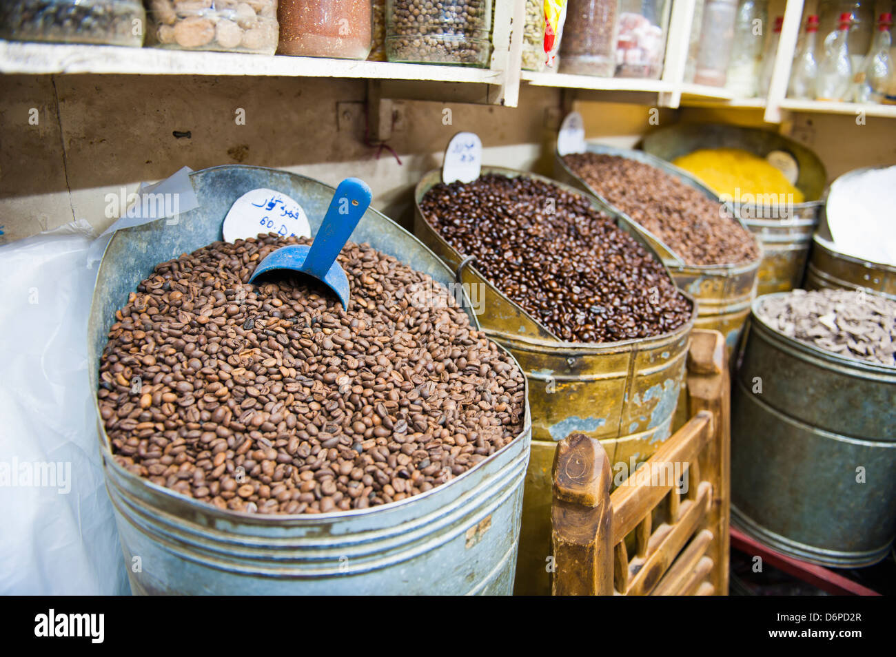 Coffee beans for sale in the souks of Marrakech, Morocco, North Africa, Africa - Stock Image