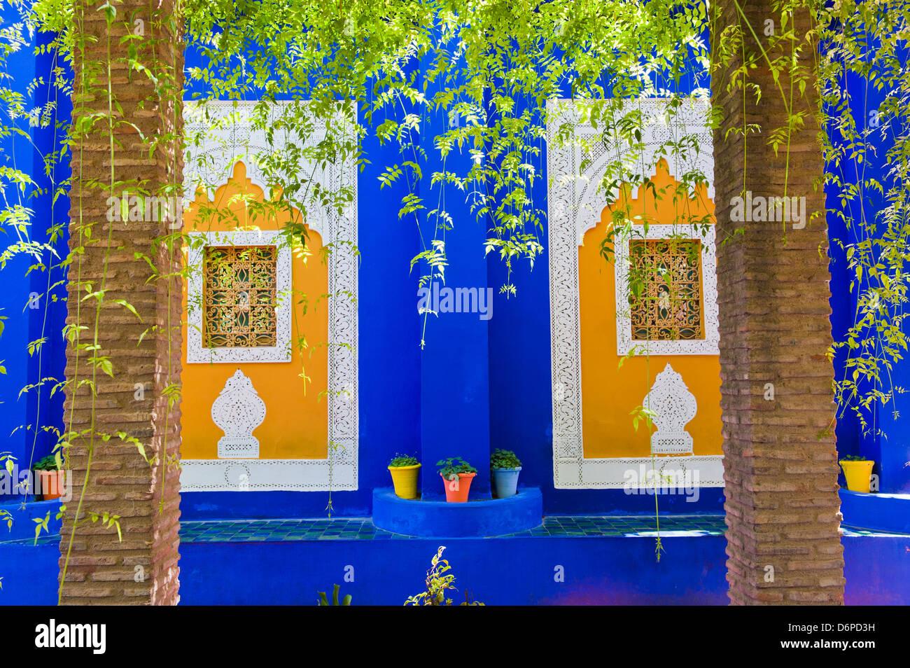 Majorelle Gardens (Gardens of Yves Saint-Laurent), Marrakech, Morocco, North Africa, Africa - Stock Image