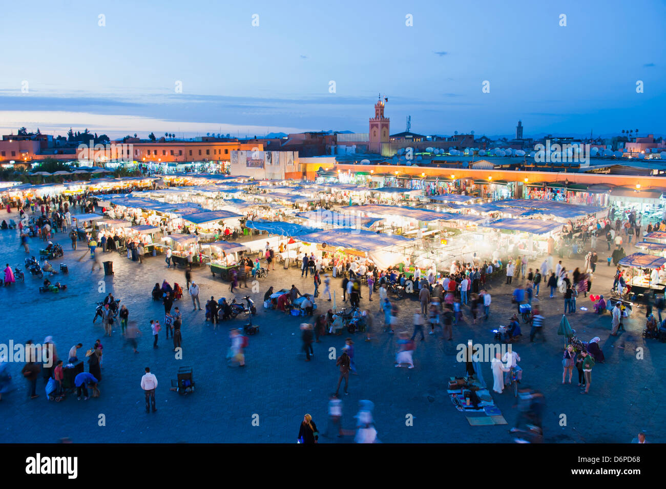 Food stalls in Place Djemaa El Fna at night, Marrakech, Morocco, North Africa, Africa - Stock Image