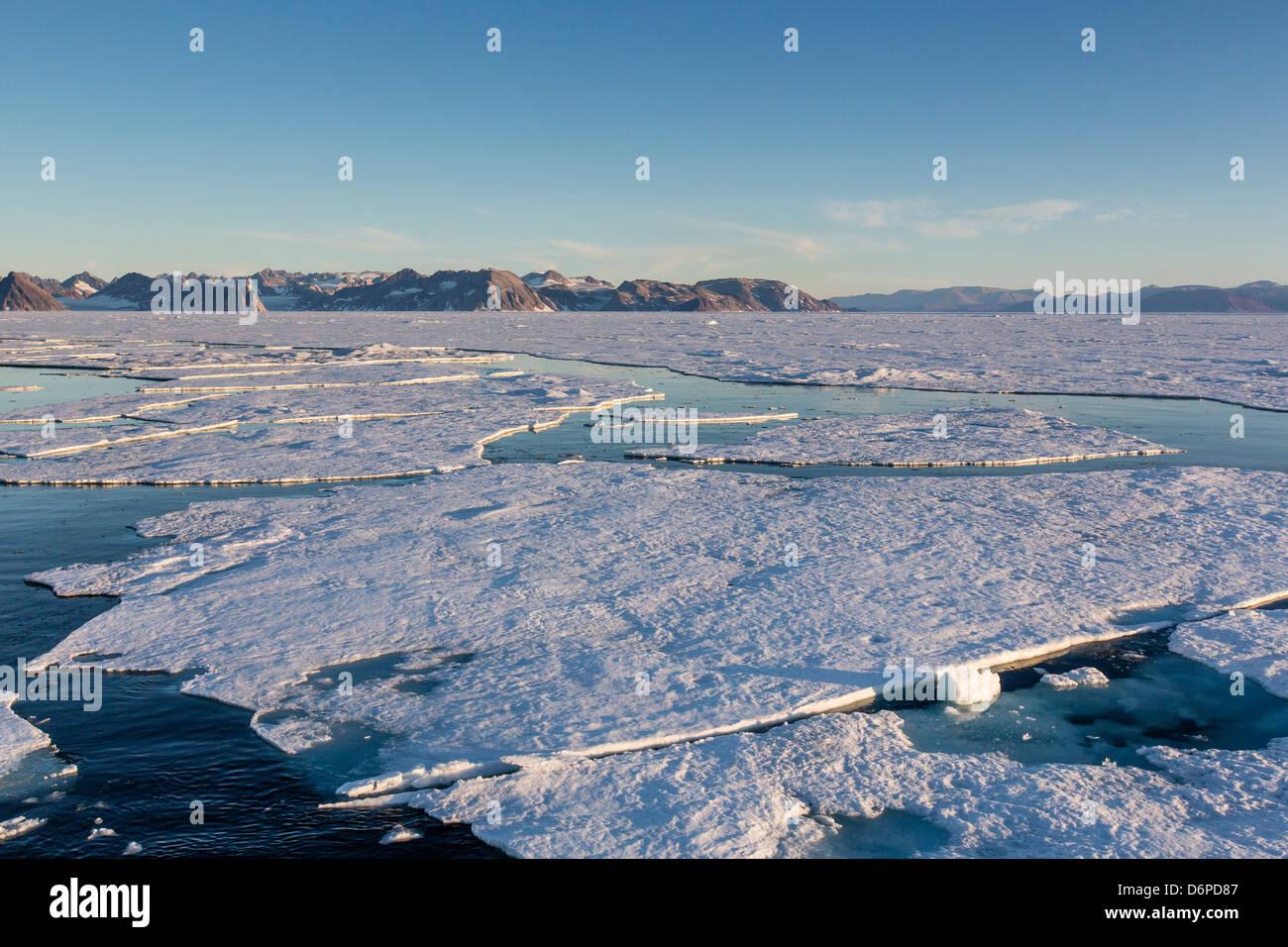 First year sea ice in Kong Oscar Fjord, Northeast Greenland, Polar Regions - Stock Image