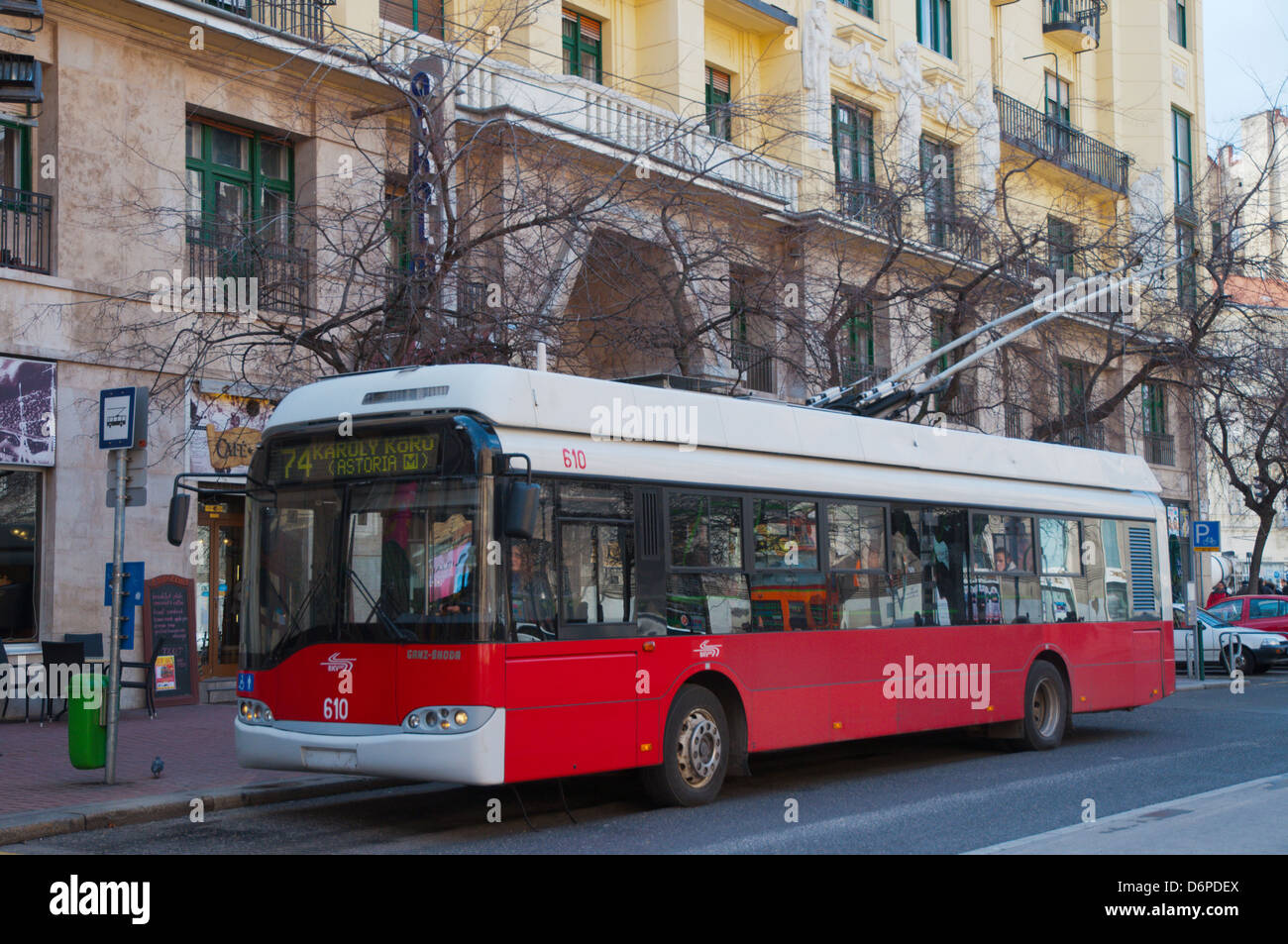 Trolley bus number 74 Dohany Utca street Budapest Hungary Europe Stock Photo