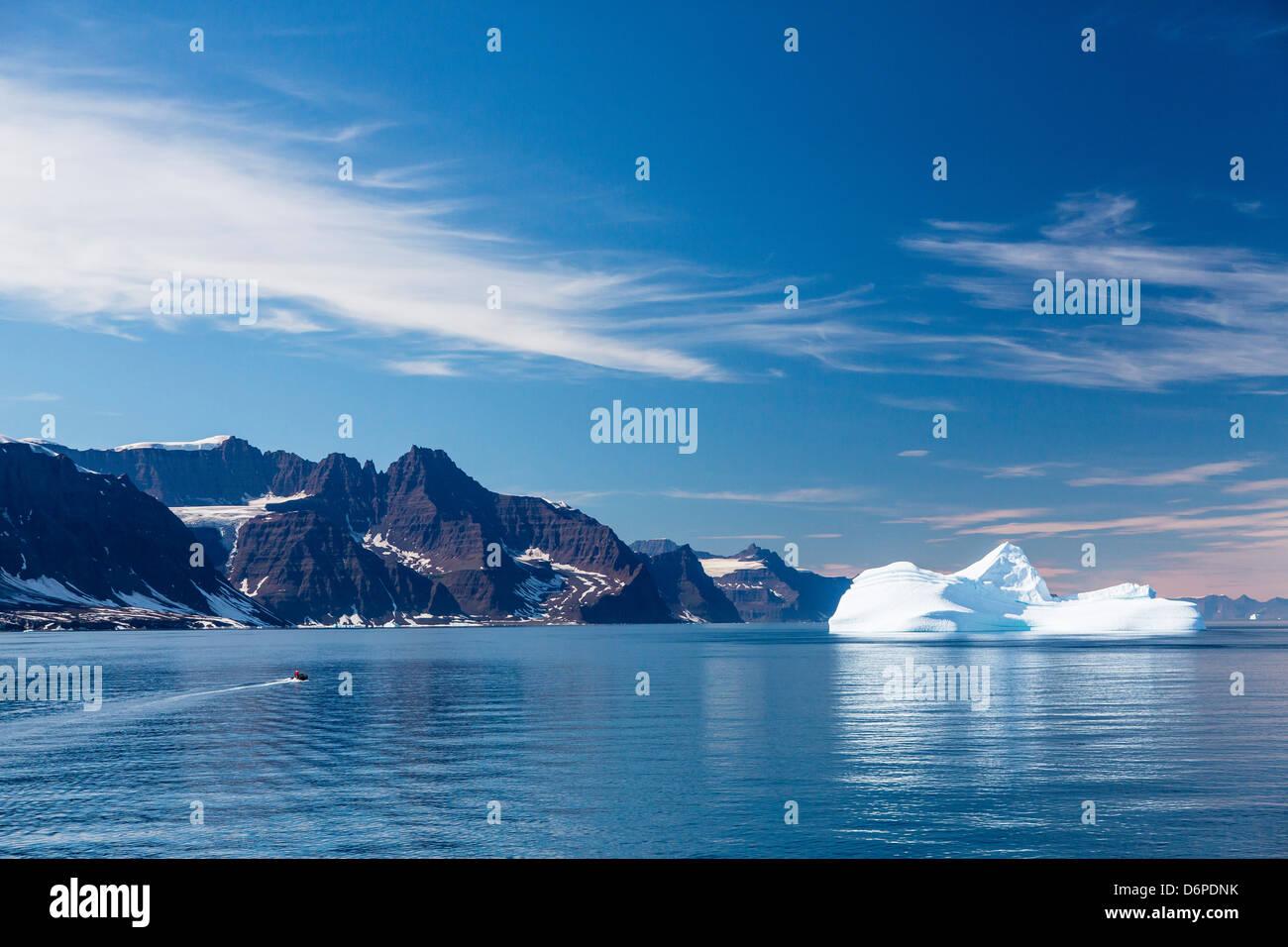 Huge iceberg, Zodiac, Scoresbysund, Northeast Greenland, Polar Regions - Stock Image